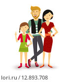 Купить «One child Happy family people flat illustration», иллюстрация № 12893708 (c) PantherMedia / Фотобанк Лори