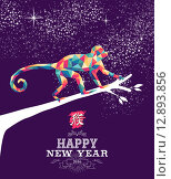 Купить «Happy chinese new year monkey 2016 triangle color», иллюстрация № 12893856 (c) PantherMedia / Фотобанк Лори