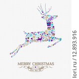 Купить «Merry christmas reindeer vintage retro elements card», иллюстрация № 12893916 (c) PantherMedia / Фотобанк Лори