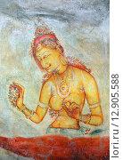 Купить «Sigiriya maiden, древняя фреска на каменной стене, Шри Ланка», фото № 12905588, снято 20 марта 2015 г. (c) Михаил Коханчиков / Фотобанк Лори