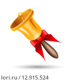 Купить «Золотой колокольчик с красной лентой», иллюстрация № 12915524 (c) Elena Titova / Фотобанк Лори
