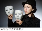 Купить «Woman with mask in funny concept», фото № 12918344, снято 21 августа 2015 г. (c) Elnur / Фотобанк Лори