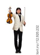 Купить «Man with violin playing on white», фото № 12920232, снято 25 мая 2015 г. (c) Elnur / Фотобанк Лори
