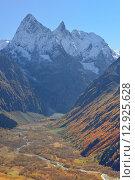 Красивая долина осенью в Кавказских горах. Стоковое фото, фотограф александр жарников / Фотобанк Лори