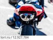 Выхлопная труба шоссейного мотоцикла. Стоковое фото, фотограф Иван Маркуль / Фотобанк Лори