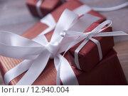 Купить «One Red Christmas Gift, Present, White Ribbon, Copy Space», фото № 12940004, снято 18 января 2019 г. (c) PantherMedia / Фотобанк Лори