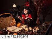 Купить «Маленькая девочка  в костюме ведьмы на Хэллоуин», фото № 12950944, снято 23 октября 2014 г. (c) Останина Екатерина / Фотобанк Лори