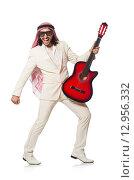 Купить «Arab man with guitar on white», фото № 12956332, снято 18 июня 2015 г. (c) Elnur / Фотобанк Лори