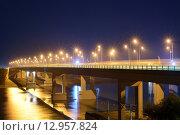 Аксайский мост, Ростов-на-Дону, ночной вид (2015 год). Редакционное фото, фотограф Станислав Самойлик / Фотобанк Лори