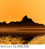 Купить «Рассвет, горы, море и туман. Тишина», иллюстрация № 12958556 (c) ElenArt / Фотобанк Лори
