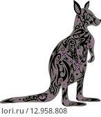 Стилизованный серый кенгуру с цветочным узором. Стоковая иллюстрация, иллюстратор Буркина Светлана / Фотобанк Лори