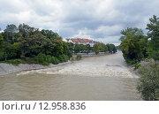 Река Изар после дождей в пасмурную погоду (Мюнхен, Германия) (2013 год). Стоковое фото, фотограф Александр Замараев / Фотобанк Лори