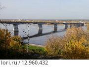 Купить «Автомобильный мост через Каму в городе Пермь», фото № 12960432, снято 23 сентября 2015 г. (c) Анатолий Косолапов / Фотобанк Лори