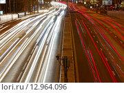 Автомобильные огни от дорожного движение по ул. Сущёвский вал (2014 год). Стоковое фото, фотограф Алексей Ильченко / Фотобанк Лори