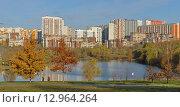 Купить «Вид на ландшафтный парк и новый жилой район Митино, Москва», фото № 12964264, снято 29 октября 2015 г. (c) Валерия Попова / Фотобанк Лори