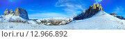 Beautiful winter mountain panorama (Sella Pass , Italy). Стоковое фото, фотограф Юрий Брыкайло / Фотобанк Лори