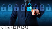 Купить «Manager Unlocking A Virtual Lock In A Lineup», фото № 12978372, снято 19 декабря 2018 г. (c) PantherMedia / Фотобанк Лори