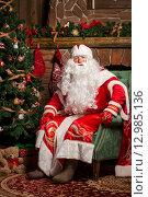 Купить «Дед Мороз сидит в кресле у камина и рождественской елки», фото № 12985136, снято 15 октября 2015 г. (c) Maria Shumilina / Фотобанк Лори
