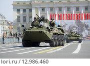 Купить «БТР-82А на репетиции парада в честь Дня Победы на Дворцовой площади. Санкт-Петербург», фото № 12986460, снято 5 мая 2015 г. (c) Виктор Карасев / Фотобанк Лори