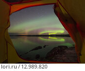 Северное сияние из палатки. Стоковое фото, фотограф Максим Судоргин / Фотобанк Лори