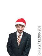 Офисный сотрудник в новогоднем колпаке. Стоковое фото, фотограф Владимир Лукин / Фотобанк Лори