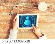 Купить «close up of hands with user icon on tablet pc», фото № 13009728, снято 10 октября 2014 г. (c) Syda Productions / Фотобанк Лори