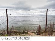 Купить «barb wire fence over gray sky and sea», фото № 13010828, снято 30 сентября 2015 г. (c) Syda Productions / Фотобанк Лори