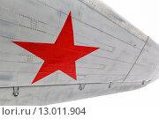 Купить «Звезда, символ ВВС России на крыле самолета», фото № 13011904, снято 16 октября 2018 г. (c) Mikhail Starodubov / Фотобанк Лори