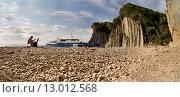 Панорама. Вид на скалу Киселева. Мыс Кадош. Туапсе (2015 год). Редакционное фото, фотограф Ясевич Светлана / Фотобанк Лори