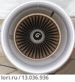 Купить «Реактивный двигатель пассажирского самолета», фото № 13036936, снято 28 января 2020 г. (c) Mikhail Starodubov / Фотобанк Лори