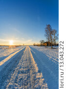 Дом в деревне недалеко от дороги зимой. Стоковое фото, фотограф Александр Корчагин / Фотобанк Лори