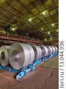 Купить «Холоднокатаная сталь в рулонах», фото № 13044936, снято 15 октября 2014 г. (c) Iordache Magdalena / Фотобанк Лори