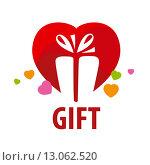Купить «Векторный логотип с подарочной коробкой на фоне красного сердца», иллюстрация № 13062520 (c) Алексей Бутенков / Фотобанк Лори