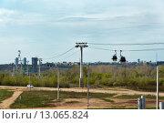 Купить «Канатная дорога над Волгой в Нижнем Новгороде», фото № 13065824, снято 4 мая 2015 г. (c) Elena Odareeva / Фотобанк Лори