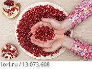 Человек держит семечки граната в ладонях, полная тарелка семечек грана на столе. Стоковое фото, фотограф Виктор Колдунов / Фотобанк Лори