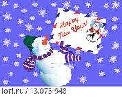Снеговик с письмом деду Морозу стоит на фоне со снежинками. Стоковая иллюстрация, иллюстратор Фёдор Мешков / Фотобанк Лори