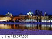 Купить «Вид на Кремль в Великом Новгороде зимним вечером», фото № 13077560, снято 21 марта 2019 г. (c) Зезелина Марина / Фотобанк Лори