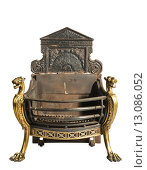 Купить «Antique iron and brass fireplace grate,  old vintage antique isolated on white», фото № 13086052, снято 26 марта 2019 г. (c) PantherMedia / Фотобанк Лори