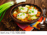 Купить «Рыбный суп с фрикадельками», фото № 13100688, снято 19 ноября 2015 г. (c) Надежда Мишкова / Фотобанк Лори