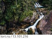Купить «Водопад с большими камнями в лесу,  Морской глаз, Польша, Закопане», фото № 13101216, снято 22 августа 2015 г. (c) Инга Макеева / Фотобанк Лори