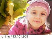 Девочка в розовой шапочке с осенними листьями. Стоковое фото, фотограф Оксана Лозинская / Фотобанк Лори