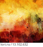 art abstract acrylic background in yellow, white, red and green colors. Стоковое фото, агентство Ingram Publishing / Фотобанк Лори