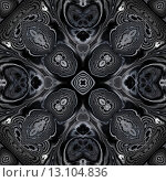 Купить «art ornamental vintage pattern, monochrome background in white, dark grey and black colors», фото № 13104836, снято 26 сентября 2018 г. (c) Ingram Publishing / Фотобанк Лори