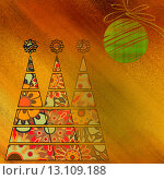 Купить «art three christmas tree and ball in gold and red colors with abstract floral vintage pattern on gold and orange background», фото № 13109188, снято 17 ноября 2018 г. (c) Ingram Publishing / Фотобанк Лори