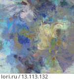 art abstract acrylic blue background with beige and violet blots. Стоковое фото, агентство Ingram Publishing / Фотобанк Лори