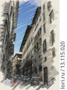 Купить «art watercolor background on paper texture with european antique town, Italy, Florence. Street», фото № 13115020, снято 7 августа 2012 г. (c) Ingram Publishing / Фотобанк Лори