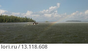 Купить «Motorboat in a lake, Lake of the Woods, Ontario, Canada», фото № 13118608, снято 1 сентября 2014 г. (c) Ingram Publishing / Фотобанк Лори