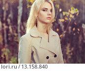 Купить «Portrait of young beautiful woman in autumn cloak», фото № 13158840, снято 28 сентября 2015 г. (c) Ingram Publishing / Фотобанк Лори