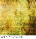 art abstract acrylic and pencil colorful background with damask pattern in yellow, green and brown colors. Стоковое фото, агентство Ingram Publishing / Фотобанк Лори