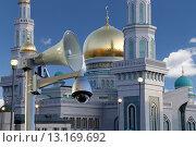 Купить «Московская соборная мечеть, одна из крупнейших мечетей России и Европы, Москва», фото № 13169692, снято 6 ноября 2015 г. (c) Владимир Журавлев / Фотобанк Лори